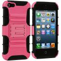 Apple iPhone 5/5S/SE Black / Pink Hybrid Heavy Duty Hard/Soft Case Cover with Holster Angle 3
