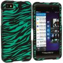 BlackBerry Z10 Black / Baby Blue Zebra Hard Rubberized Design Case Cover Angle 1