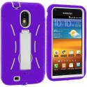 Samsung Epic Touch 4G D710 Sprint Galaxy S2 Purple / White Hybrid Heavy Duty Hard/Soft Case Cover with Stand Angle 3
