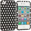 Apple iPhone 4 / 4S Black / White Polka Dot Hard Rubberized Design Case Cover Angle 1