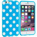 Apple iPhone 6 Plus 6S Plus (5.5) Baby Blue / White TPU Polka Dot Skin Case Cover Angle 1