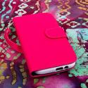 HTC One M8 M8 - Pink/ Navy Blue MPERO FLEX FLIP Wallet Case Cover Angle 2
