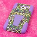 Samsung Galaxy S6 - Purple Rainbow Leopard MPERO IMPACT X - Kickstand Case Angle 3