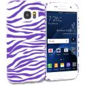 Samsung Galaxy S7 Edge Purple / White Zebra TPU Design Soft Rubber Case Cover Angle 1