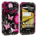 Samsung Conquer 4G D600 Pink Butterfly Flowers Design Crystal Hard Case Cover Angle 1