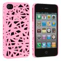 Apple iPhone 4 / 4S Light Pink Birds Nest Hard Rubberized Back Cover Case Angle 2