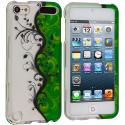 Apple iPod Touch 5th 6th Generation Green / White Flower Hard Rubberized Design Case Cover Angle 1