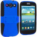 Samsung Galaxy S3 Black / Blue Hybrid Mesh Hard/Soft Case Cover with Stand Angle 2
