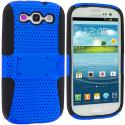 Samsung Galaxy S3 Black / Blue Hybrid Mesh Hard/Soft Case Cover with Stand Angle 3