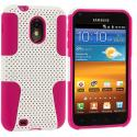Samsung Epic Touch 4G D710 Sprint Galaxy S2 Hot Pink / White Hybrid Mesh Hard/Soft Case Cover Angle 1