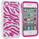 Apple iPhone 4 / 4S Hot Pink / White Hybrid Zebra Hard/Soft Case Cover Angle 1