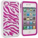 Apple iPhone 4 Hot Pink / White Hybrid Zebra Hard/Soft Case Cover Angle 1