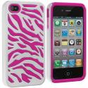 Apple iPhone 4 / 4S Hot Pink / White Hybrid Zebra Hard/Soft Case Cover Angle 2