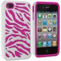 Apple iPhone 4 Hot Pink / White Hybrid Zebra Hard/Soft Case Cover Angle 2