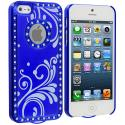 Apple iPhone 5/5S/SE Blue Diamond Luxury Flower Case Cover Angle 2