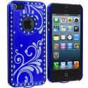 Apple iPhone 5/5S/SE Blue Diamond Luxury Flower Case Cover Angle 3