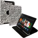 Amazon Kindle Fire HDX 8.9 Black White Leopard 360 Rotating Leather Pouch Case Cover Stand Angle 1