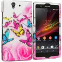 Sony Xperia Z Pink Colorful Butterfly 2D Hard Rubberized Design Case Cover Angle 1