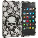 Amazon Fire Phone Black White Skulls 2D Hard Rubberized Design Case Cover Angle 1