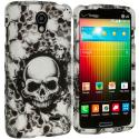 LG Lucid 3 VS876 Black White Skulls 2D Hard Rubberized Design Case Cover Angle 1