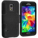 Samsung Galaxy S5 Mini G800 Black / Black Hybrid Mesh Hard/Soft Case Cover Angle 1