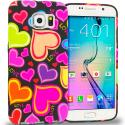 Samsung Galaxy S6 Rainbow Hearts Black TPU Design Soft Rubber Case Cover Angle 1