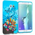 Samsung Galaxy S6 Edge Plus + Blue Butterfly Flower TPU Design Soft Rubber Case Cover Angle 1