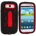 Samsung Galaxy S3 Black / Red Hybrid Heavy Duty Hard/Soft Case Cover with Stand Angle 3