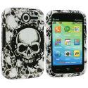 Pantech Renue 6030 Black / White Skulls Design Crystal Hard Case Cover Angle 1
