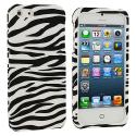 Apple iPhone 5/5S/SE Black / White Zebra Hard Rubberized Design Case Cover Angle 1