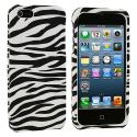 Apple iPhone 5/5S/SE Black / White Zebra Hard Rubberized Design Case Cover Angle 2