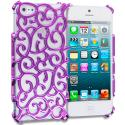 Apple iPhone 5/5S/SE Purple Floral Crystal Hard Back Cover Case Angle 1