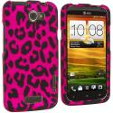 HTC One X Hot Pink Leopard Hard Rubberized Design Case Cover Angle 1