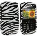 BlackBerry Curve 8520 8530 3G 9300 9330 Black / White Zebra Design Crystal Hard Case Cover Angle 1
