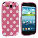 Samsung Galaxy S3 Pink / White TPU Polka Dot Skin Case Cover Angle 1