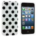Apple iPhone 5/5S/SE White / Black TPU Polka Dot Skin Case Cover Angle 2