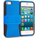 Apple iPhone 5/5S/SE Black / Baby Blue Hybrid Mesh Hard/Soft Case Cover with Stand Angle 1