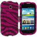 Samsung Galaxy Stellar i200 Black / Hot Pink Zebra Bling Rhinestone Case Cover Angle 1