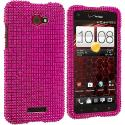 HTC Droid DNA Hot Pink Bling Rhinestone Case Cover Angle 1