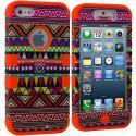 Apple iPhone 5/5S/SE Orange Tribal Hybrid Tuff Hard/Soft 3-Piece Case Cover Angle 1