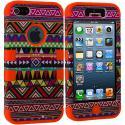 Apple iPhone 5/5S/SE Orange Tribal Hybrid Tuff Hard/Soft 3-Piece Case Cover Angle 2