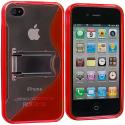 Apple iPhone 4 / 4S Red TPU S-Line Case Cover with Stand Angle 3