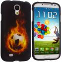 Samsung Galaxy S4 Flaming Soccar Ball Hard Rubberized Design Case Cover Angle 1