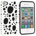 Apple iPhone 4 / 4S White / Black Hybrid Bubble Hard/Soft Skin Case Cover Angle 1