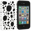 Apple iPhone 4 / 4S White / Black Hybrid Bubble Hard/Soft Skin Case Cover Angle 2