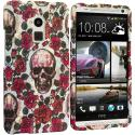HTC One Max Gorgeous Skull Hard Rubberized Design Case Cover Angle 1