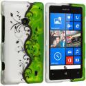 Nokia Lumia 520 Green / White Swirl 2D Hard Rubberized Design Case Cover Angle 1