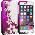 Apple iPhone 6 6S (4.7) Purple Silver Vine Flower 2D Hard Rubberized Design Case Cover Angle 1