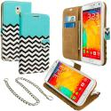 Samsung Galaxy Note 3 N9000 Mint Green Zebra Leather Wallet Pouch Case Cover with Slots Angle 1
