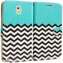 Samsung Galaxy Note 3 N9000 Mint Green Zebra Leather Wallet Pouch Case Cover with Slots Angle 2